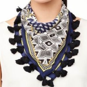 Silk scarf with tassels